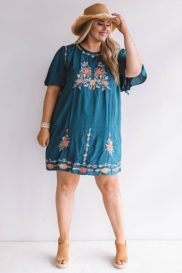 Margarita Calling Embroidered Shift Dress in Teal