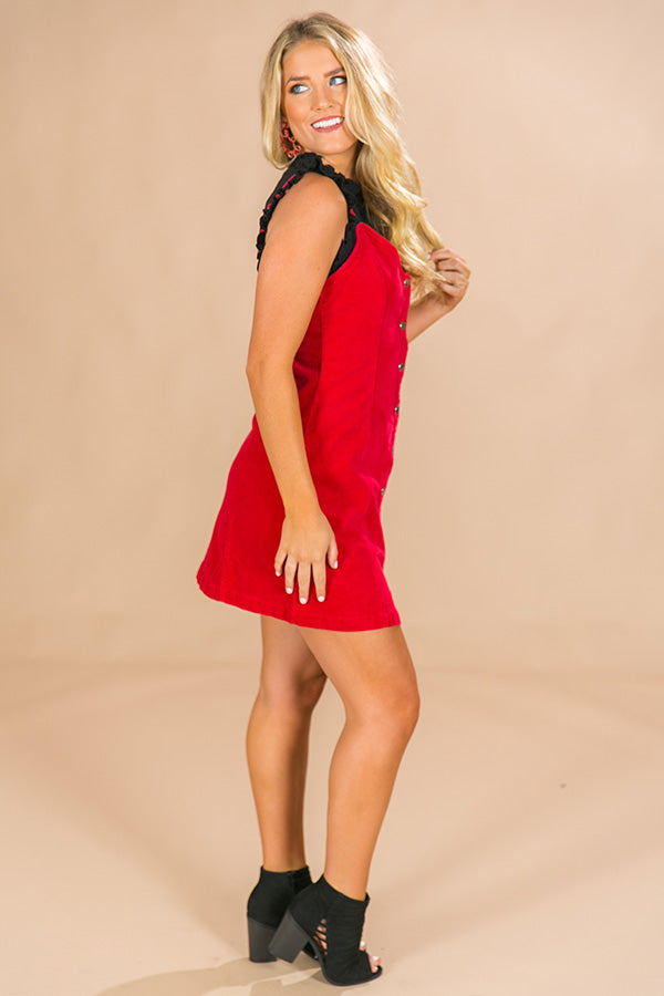 Spice Up Your Life Corduroy Dress in Red