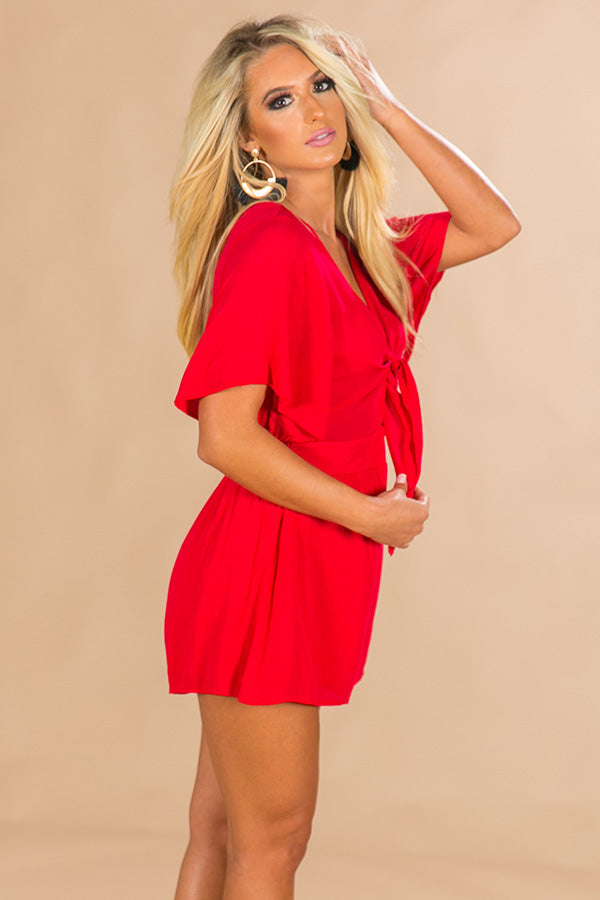 Tailgate Time Front Tie Romper in Red