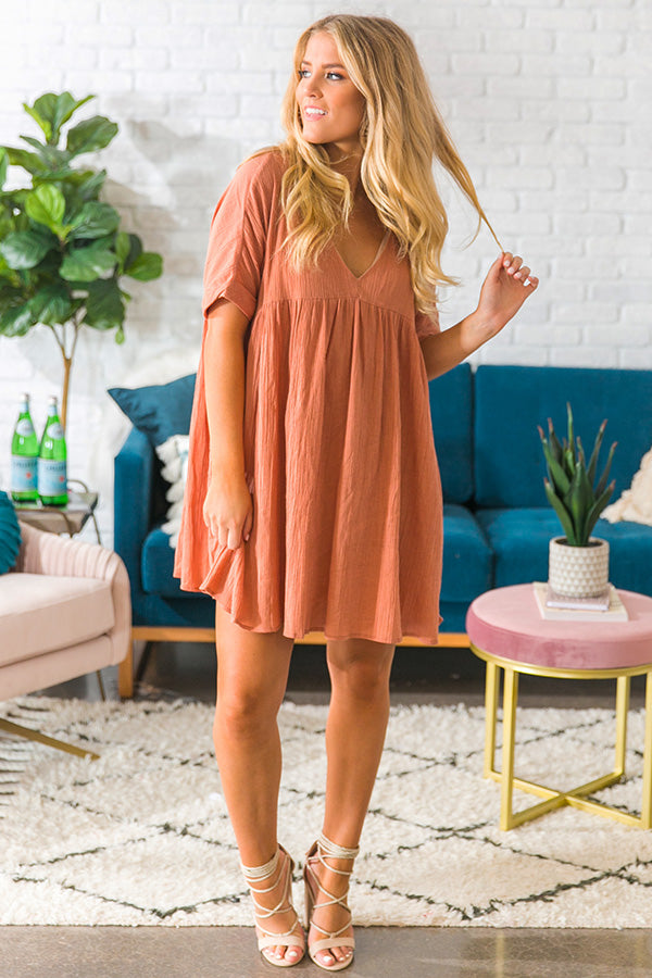 Soho Livin' Tunic Dress in Rustic Peach
