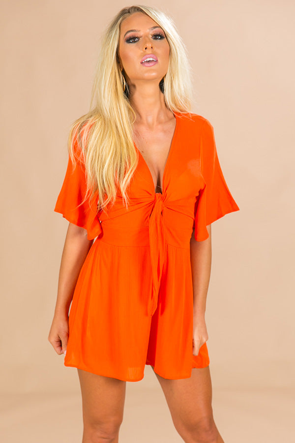 Tailgate Time Front Tie Romper in Orange