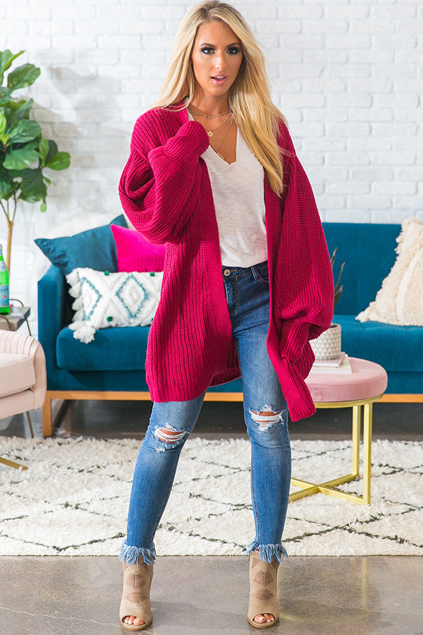 Bonfire Bliss Knit Cardigan in Fuchsia