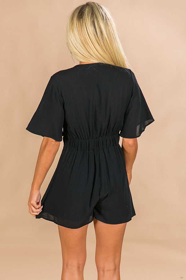 Tailgate Time Front Tie Romper in Black