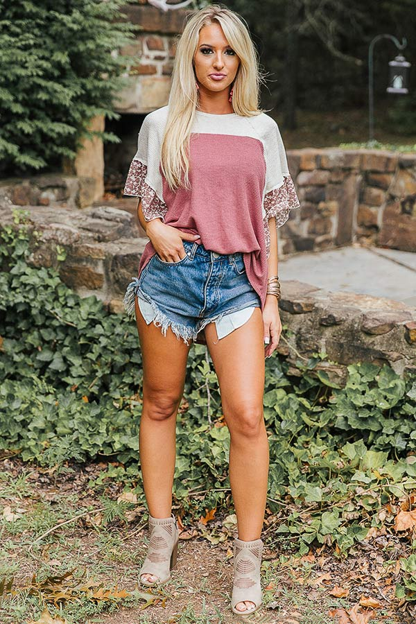 Butterfly Kisses Shift Top in Rustic Rose