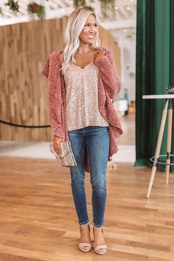 All The Cozy Feels Chenille Cardigan in Rustic Rose