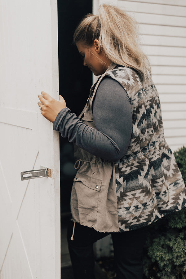 Take Me To The Mountains Vest in Taupe