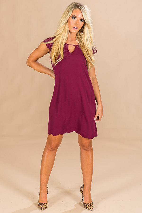 Vino In Versailles Scalloped Dress in Merlot