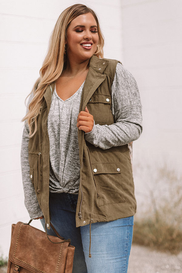 Take Me To The Mountains Vest in Olive