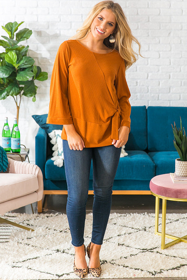 Falling In Love Tie Top in Pumpkin
