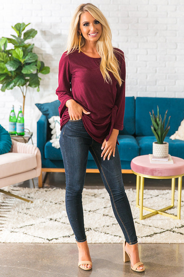 Falling In Love Tie Top in Merlot
