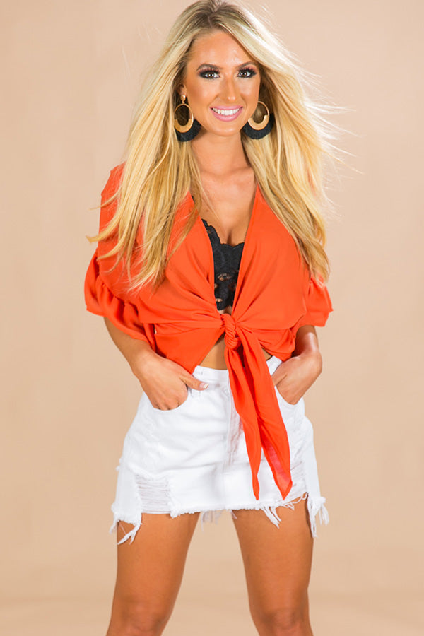 Glam For Game Day Front Tie Overlay in Orange