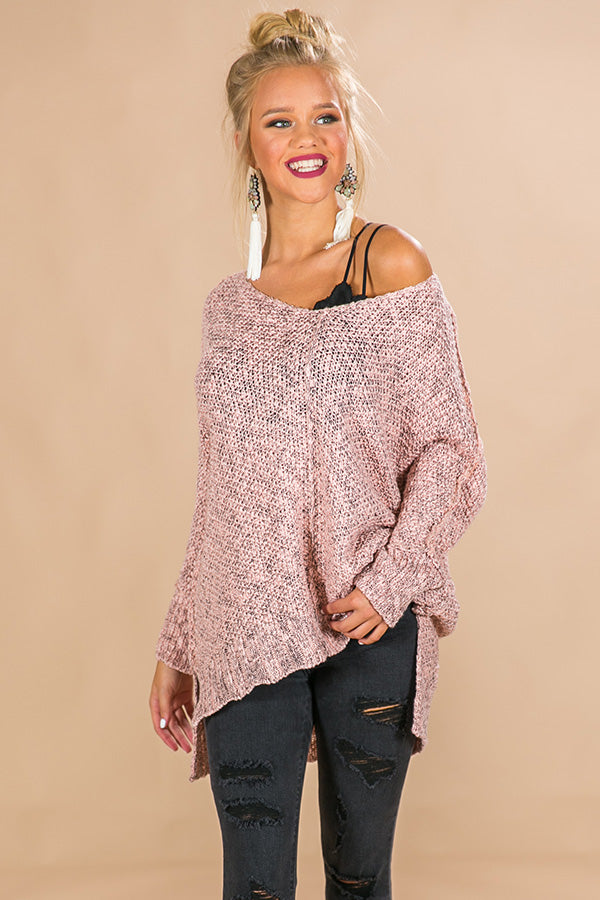 Cozy Like Sunday Morning Knit Sweater in Pink