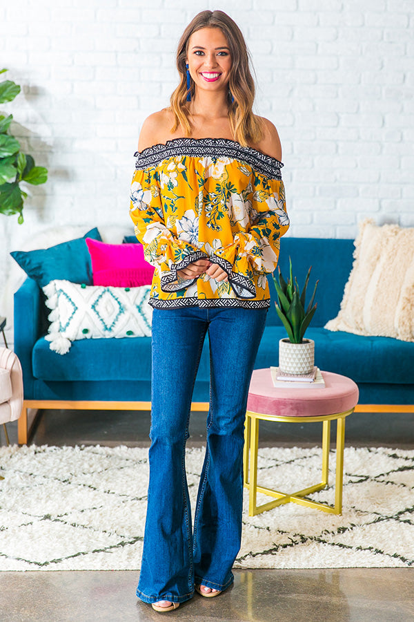 Chasing Bliss Floral Off Shoulder Top in Marigold