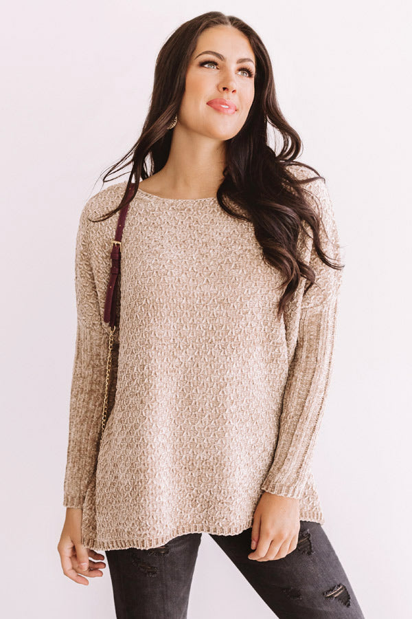 Cozy By The Fire Chenille Sweater in Iced Latte