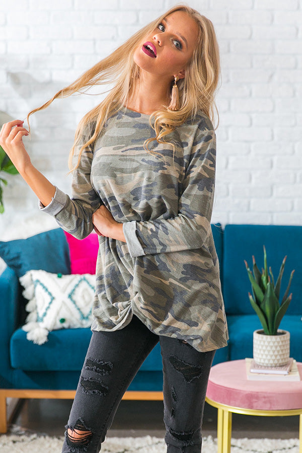 Can You Knot Camo Top