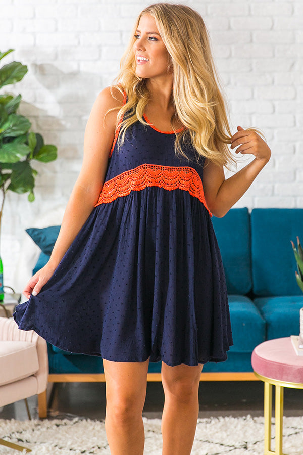 Cheers To The Weekend Babydoll Dress In Navy