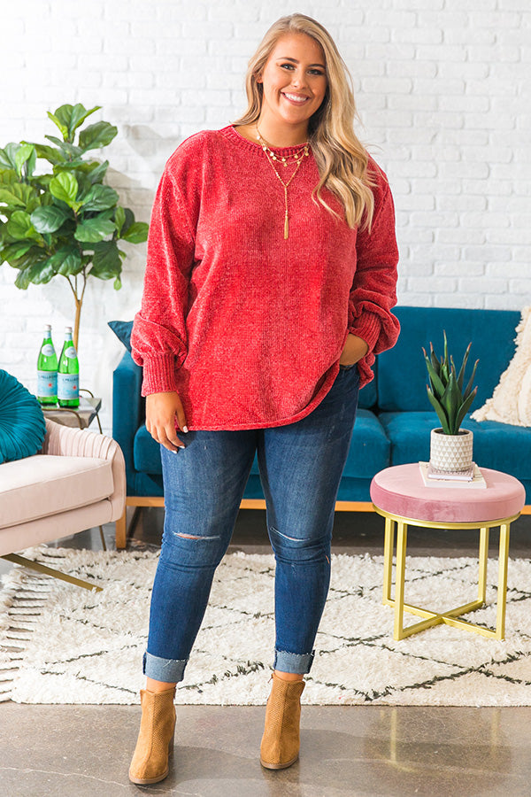 PSL Season Chenille Sweater In Rose