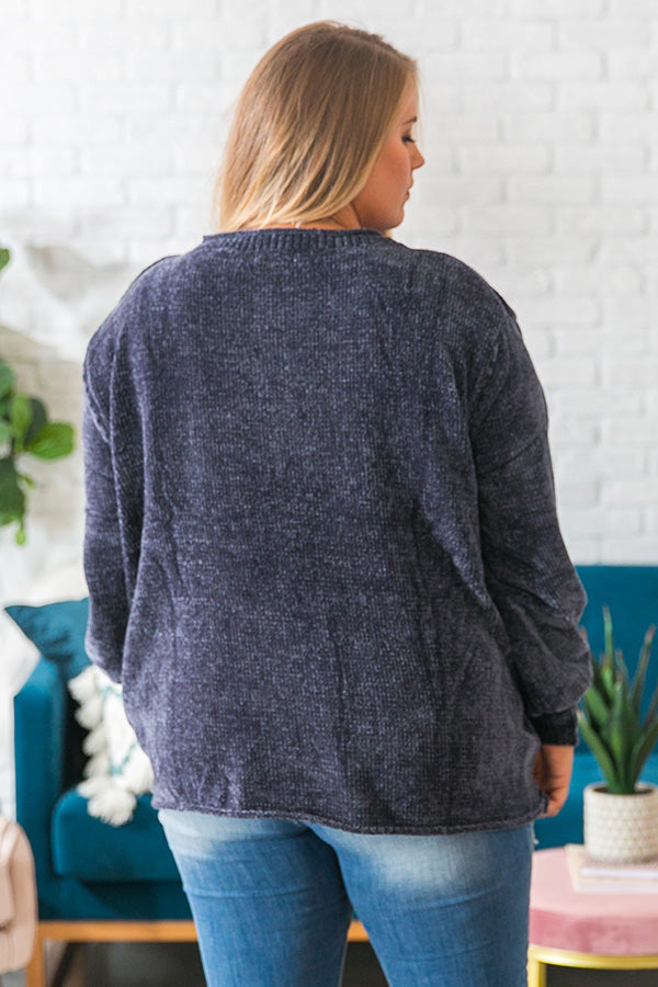 PSL Season Chenille Sweater In Slate