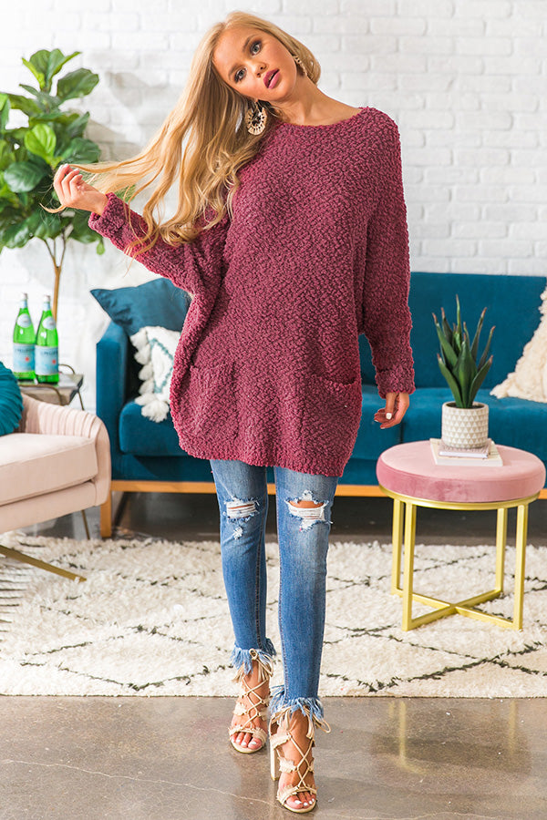 Winter Break Knit Tunic Sweater In Sangria