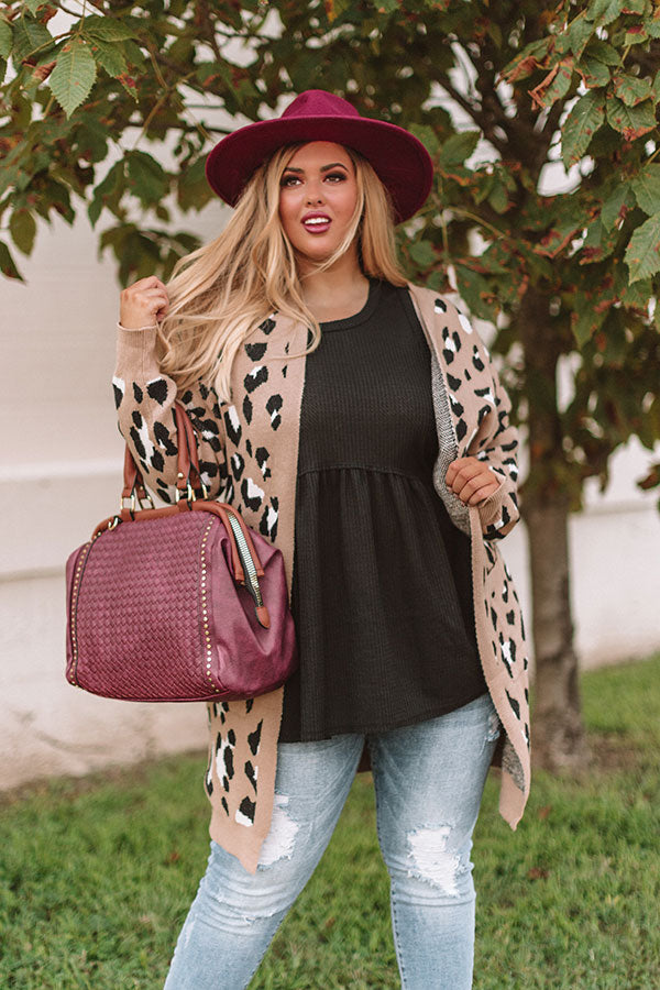 Spotted In Manhattan Leopard Cardigan in Iced Mocha