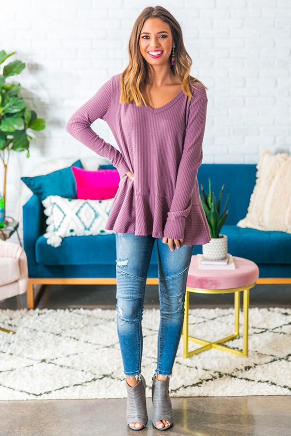 Merlot At The Lodge Knit Top in Purple