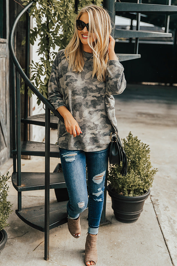 Cozy and Chill Camo Top