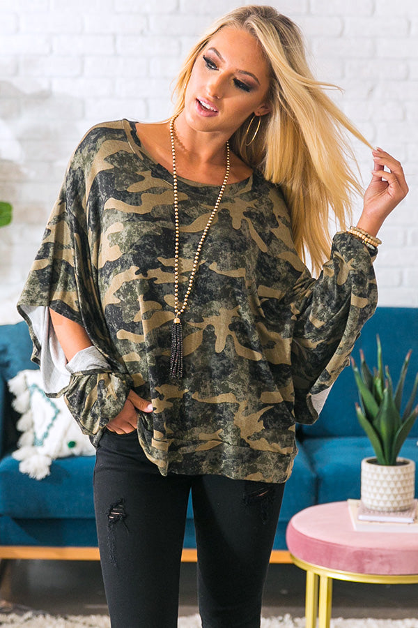 Cheers To Camo Shift Top