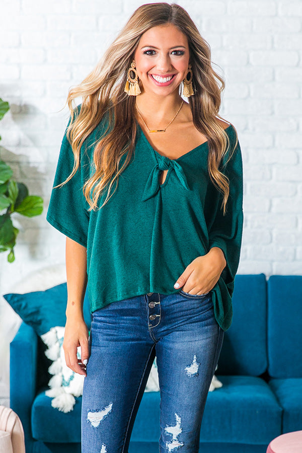 London Romance Front Tie Top in Hunter Green