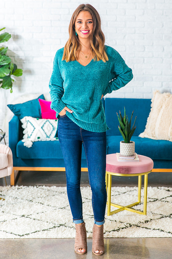 Cabin Side Cuddles Chenille Sweater in Jade