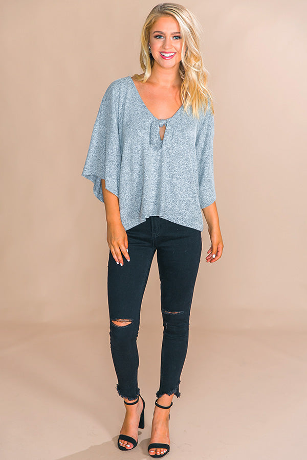 London Romance Front Tie Top in Grey