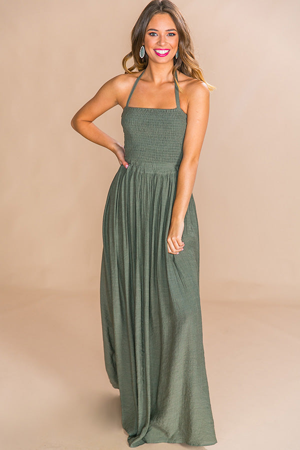 Making Headlines Maxi Dress in Olive