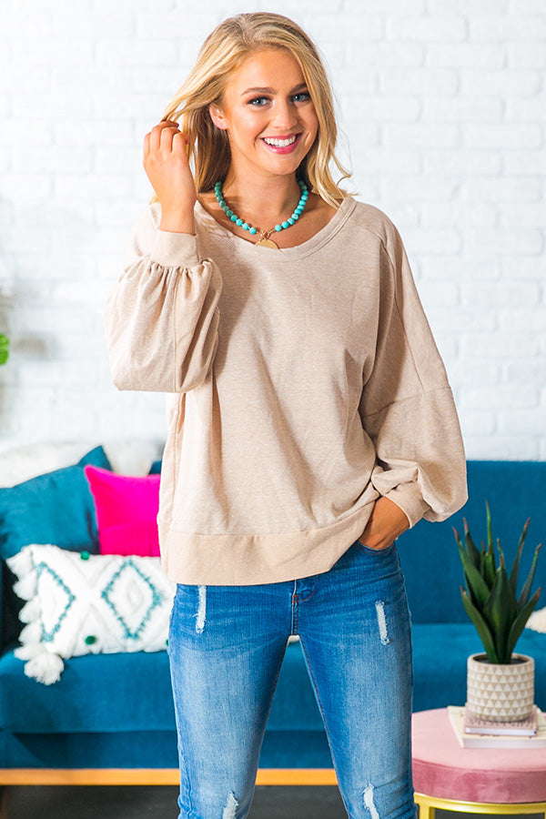 Cozy By The Bonfire Sweater in Iced Latte