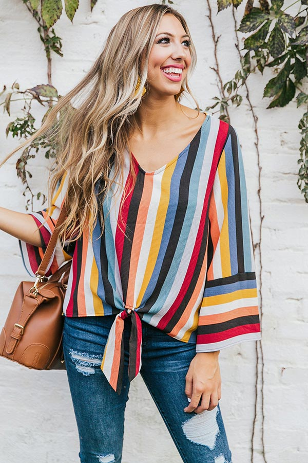 Pinot Perfection Stripe Top in Wine