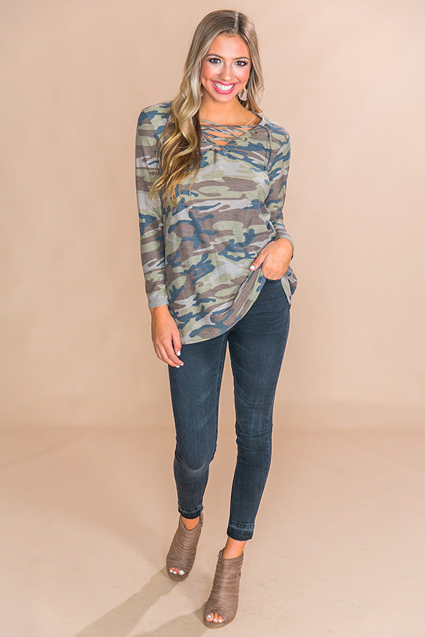 Kisses And Camo Lace Up Top