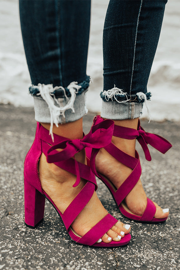 The Cleo Lace Up Heel In Berry