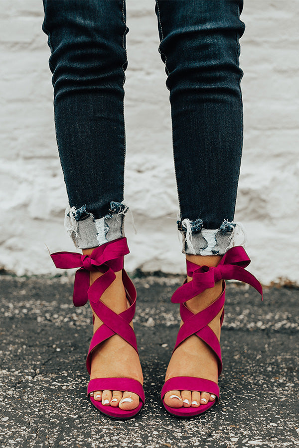 ec64ad9b2435 The Cleo Lace Up Heel In Berry • Impressions Online Boutique