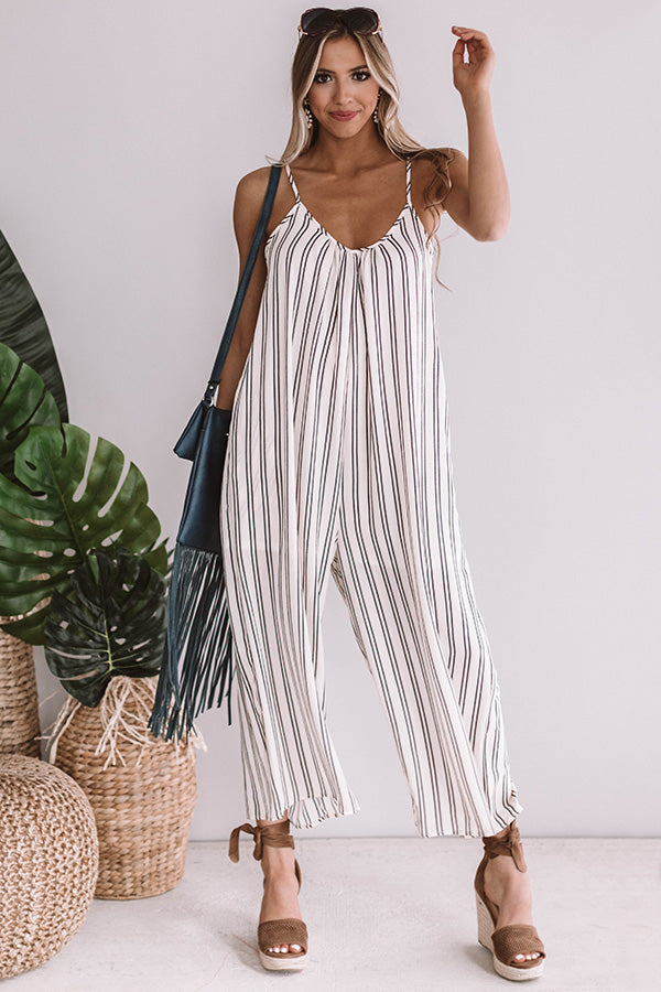 Milan Stripe Jumpsuit in Cream
