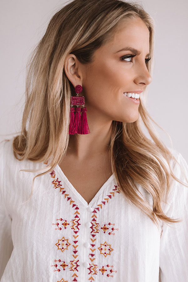 Martini Meet Up Tassel Earrings In Berry