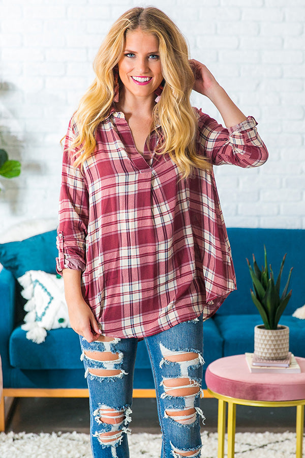 Apple Picking Pretty Plaid Top in Wine