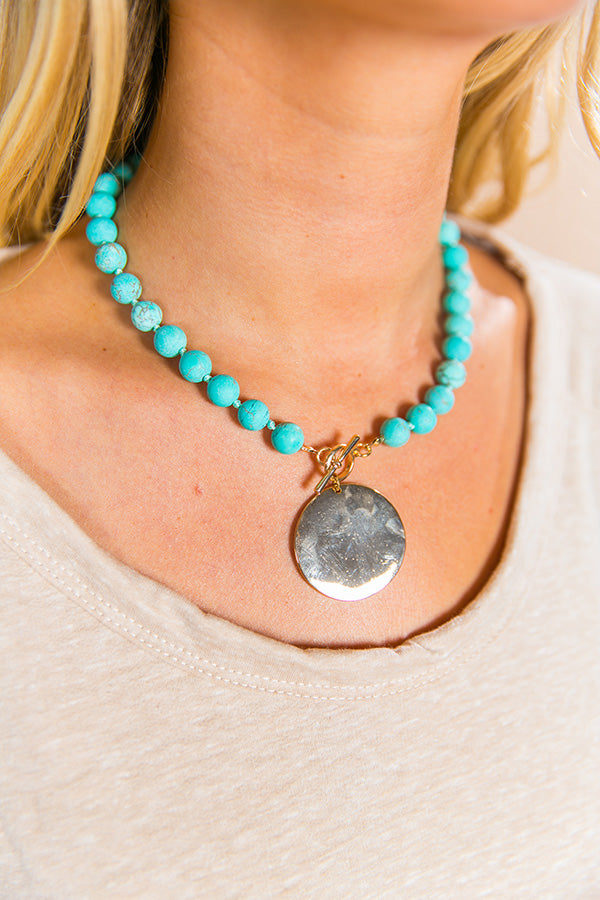 First Class Everything Beaded Necklace In Turquoise