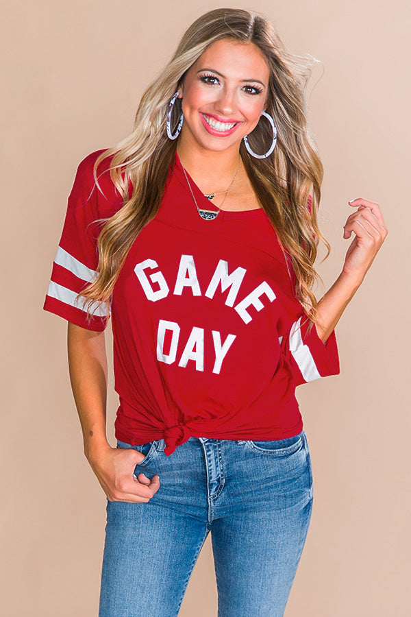 Game Day Varsity Shift Tee in Red