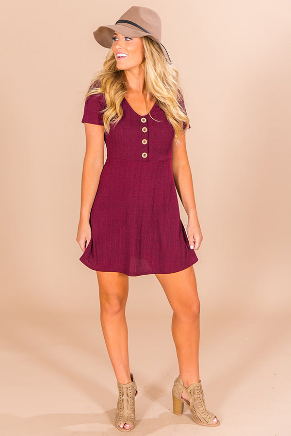 Twirls and Kisses Dress in Merlot