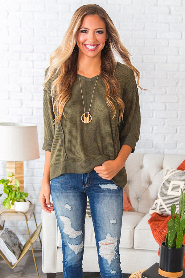 Vineyard Cuddles Shift Top in Olive