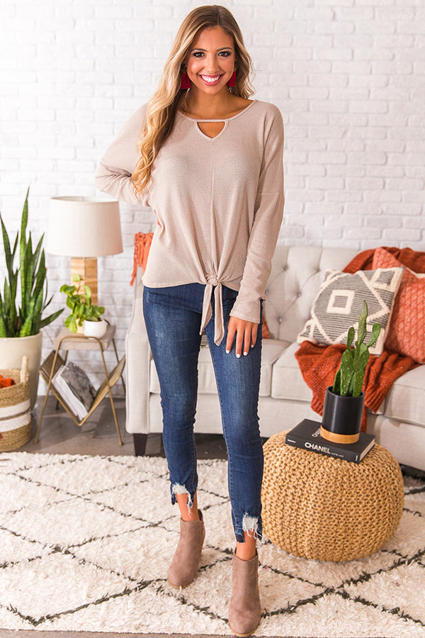 Lattes For Two Waffle Knit Top in Stone
