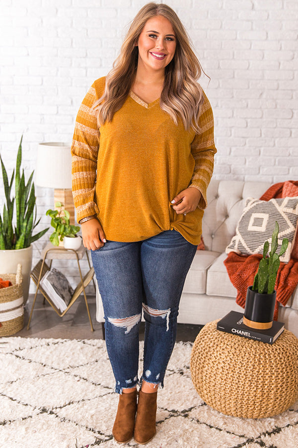 Sippin' Merlot Stripe Top in Mustard