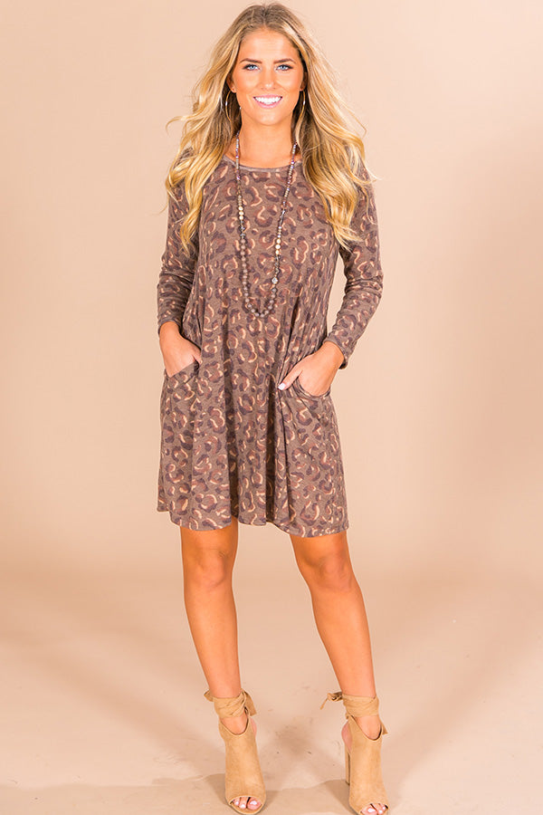 Cozy In Leopard Shift Dress in Mocha