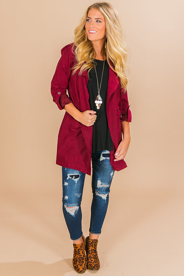 Latte All Day Lightweight Parka in Wine
