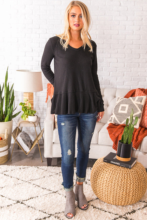 Merlot At The Lodge Knit Top in Black