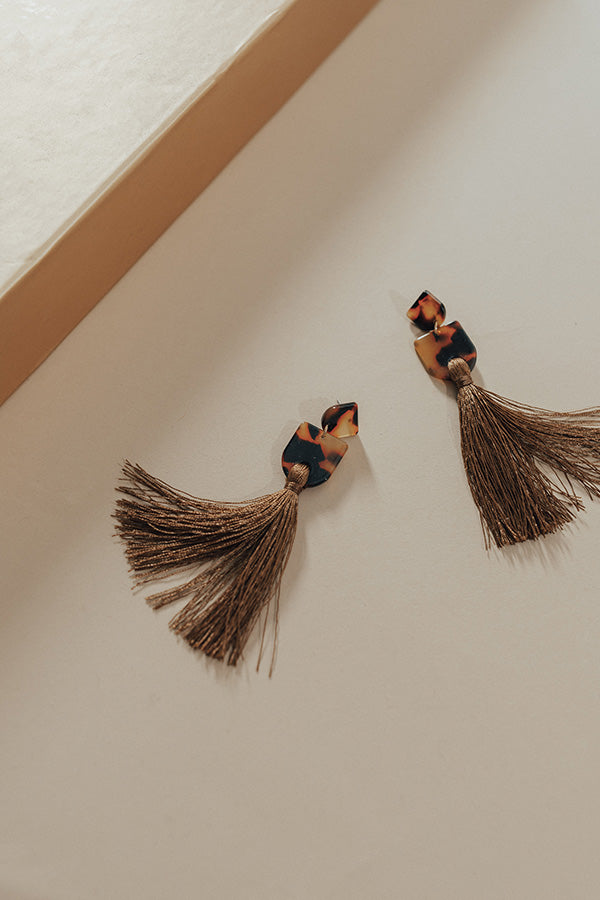 London Dreaming Tassel Earrings In Brown