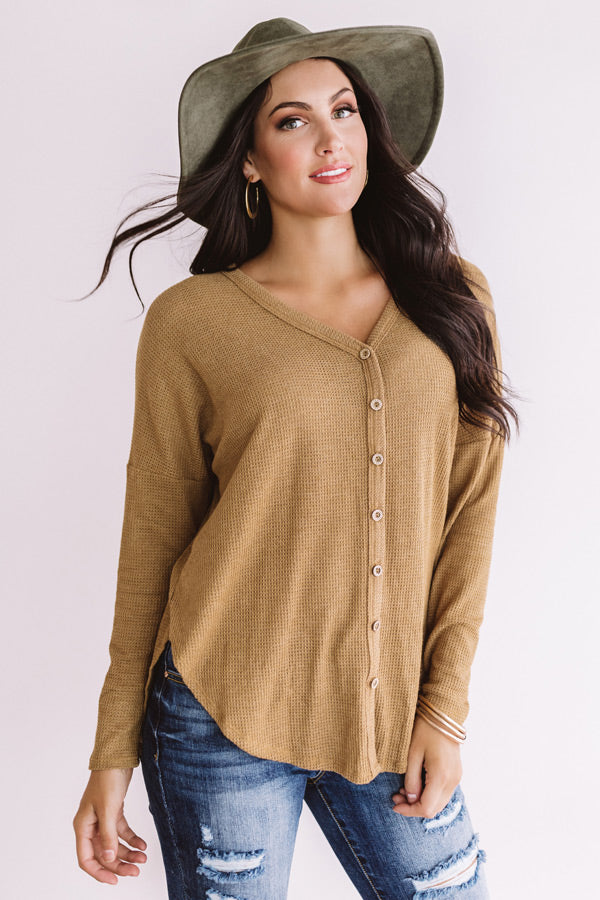 Visiting Vail Waffle Knit Shift Top in Iced Mocha